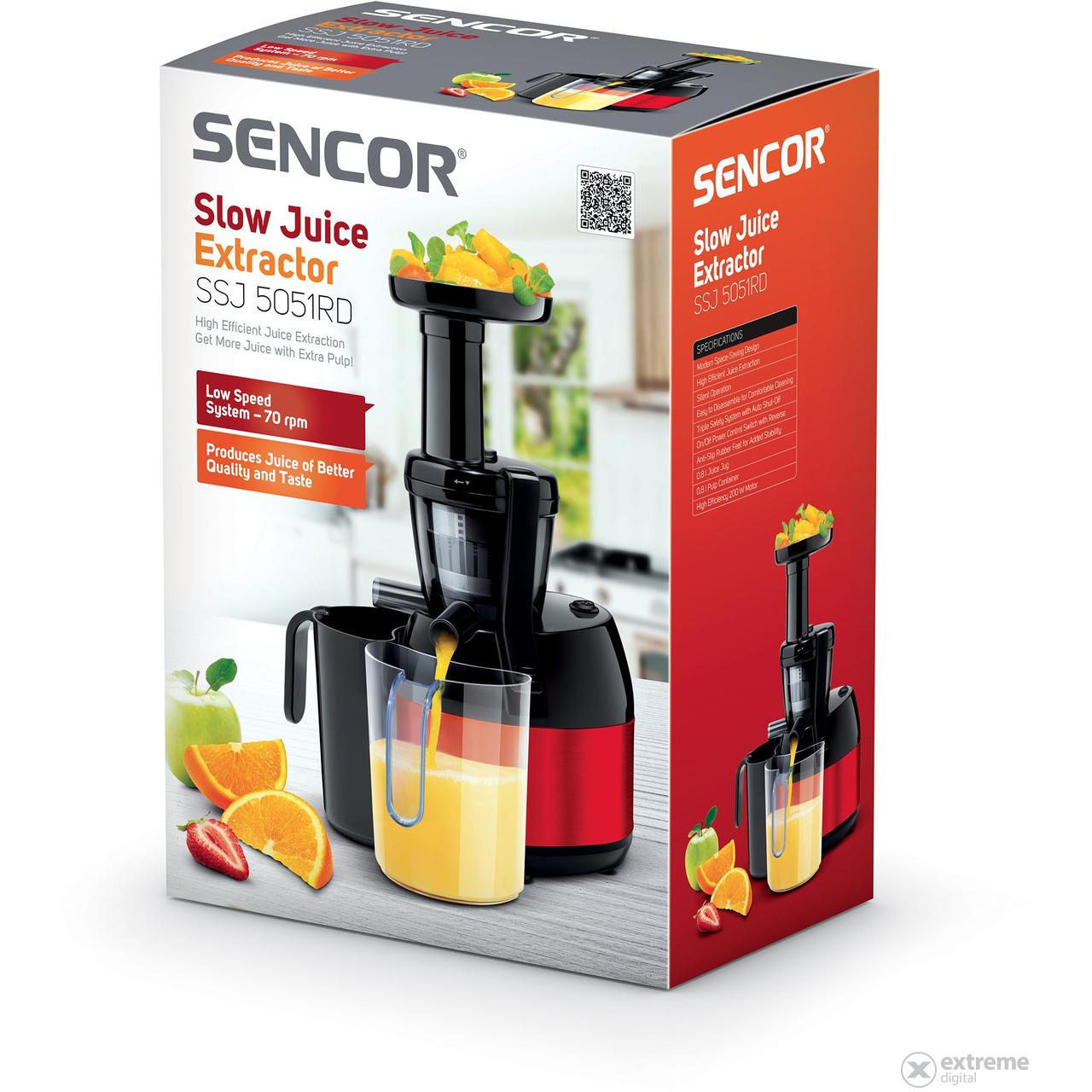 Sencor SSJ 5051RD Slow juicer, piros Extreme Digital