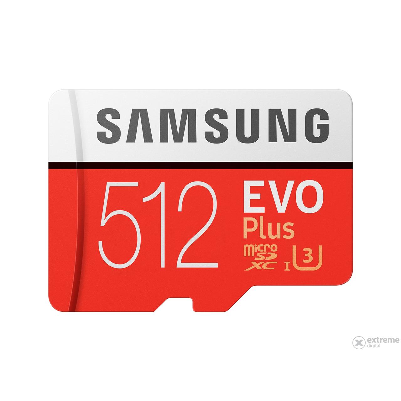 Samsung EVO Plus 512GB microSDXC UHS-I U3 100MB/s Full HD & 4K UHD Memóriakártya adapterrel (MB-MC512GA)