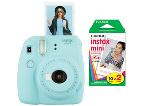 Fujifilm Instax Mini 9 analógový fotoaparát, ice blue + Fujifilm mini film 2x10 ks