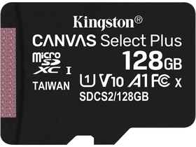 Kingston Canvas Select Plus 100R A1 C10 128GB microSDXC memóriakártya (adapter nélkül)
