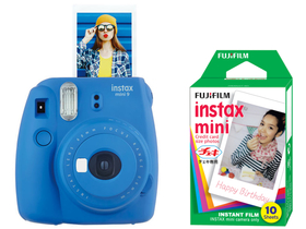 Fujifilm Instax Mini 9 instant camera, cobalt blue + Fujifilm mini film 10db
