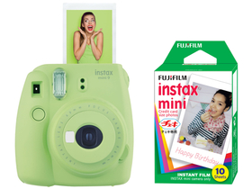 Fujifilm Instax Mini 9 instant camera, lime green + Fujifilm mini film 10db