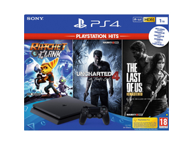 PlayStation® PS4 Slim 1TB konzol + Ratchet & Clank, The Last of Us és Uncharted 4 játékszoftver
