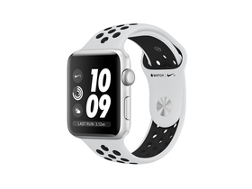 Apple Watch Nike+ GPS, 38mm, argintiu, curea negru platinat Nike  (mqkx2mp/a)