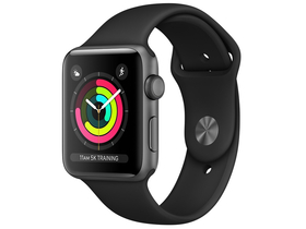 Apple Watch Series 3 GPS, 42mm, Space Grey Aluminium Case with Black Sport Band (mql12mp/a)