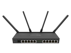 MikroTik RB4011IGS+5HACQ2HND-IN 10port GbE LAN, 1xSFP+ port, 2,4GHz & 5GHz 802.11ac wireless külső antennával