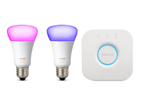 Philips Hue 9.5W E27 farbig Vernetzte LED-Lampen (2 STk.) + Bridge