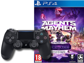 Controller wireless PlayStation 4 (PS4) Dualshock 4 V2, negru + joc Agent Of Mayhem