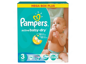 Pampers Active Baby Dry 3 pelenka Mega Box Plus (174db)