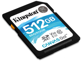 Kingston Secure Digital 512GB Cl10 UHS-I U3 V30 (90/45) Canvas Go Speicherkarte SDG/512GB)