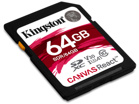 Card memorie Kingston Secure Digital 64GB Cl10 UHS-I U3 V30 A1 (100/80) Canvas React (SDR/64GB)
