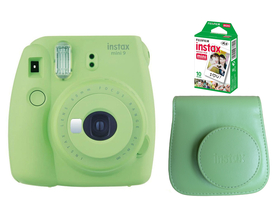 Aparat foto analog Fujifilm Instax Mini 9 , lime green + toc + film (10 buc.)
