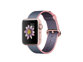 Apple Watch Series 2 gold rose, curea plastic roz, 38mm (mnp02mp/a)