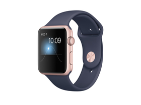 Apple Watch Series 1, 42mm, rozéarany színű alumíniumtok éjkék sportszíjjal (mnnm2mp/a)