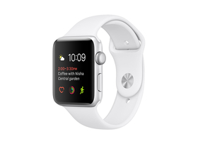 Apple Watch Series 1, 38mm, toc argintiu, curea alba (mnng2mp/a)
