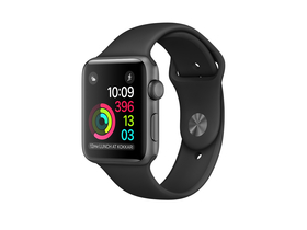 Apple Watch Series 2, 38mm astroszürke alumínium tok fekete sport szíjjal (mp0d2mp/a)