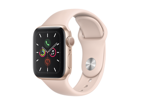 Apple Watch Series 5 GPS, 40mm Gold Aluminium Case with Pink Sand Sport Band (MWV72HC/A)