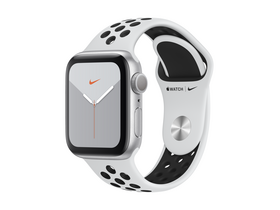 Apple Watch Nike Series 5 GPS, 40mm , ezüst aluminium tok, platinum/fekete Nike sportpánttal