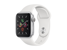 Apple Watch Series 5 GPS, 40mm, toc aluminiu argintiu, curea alba