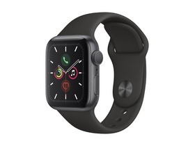 Apple Watch Series 5 GPS, 44mm , astro siv ovitek iz aluminijam, s črnim spornim pasom