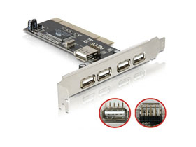 DeLock 89028 USB2.0 card 4+1 port PCI