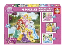 Puzzle Educa Disney Hercegnők Palace Pets, 4 in 1