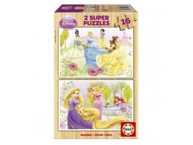 Puzzle Educa Disney Princess lemn, 2x16 buc.