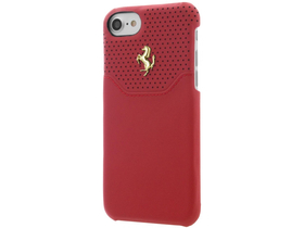 Ferrari iPhone 7 Lusso Hard Genuine Leather Gold Logo hátlap, tok, piros