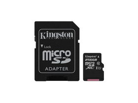 Kingston Canvas Select 256GB microSDXC memóriakártya + SD adapter, Class 10, UHS-I, U1 (SDCS/256GB)