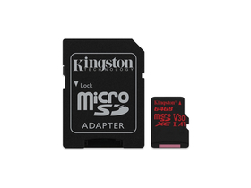 Kingston Canvas React 64GB microSDXC memóriakártya + SD adapter, Class 10, UHS-I, U3, V30, A1 (SDCR/64GB)