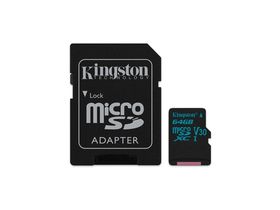 Kingston Canvas Go 64GB microSDHC paměťová karta + SD adapter, Class 10, UHS-I, U3, V30 (SDCG2/64GB)