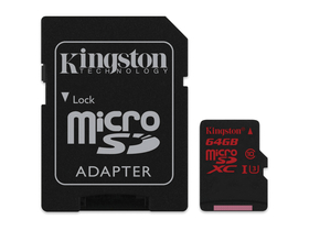 Kingston Secure Digital Micro 64GB Cl10 UHS-I U3 (90/80) memóriakártya (SDCA3/64GB) + SD adapter