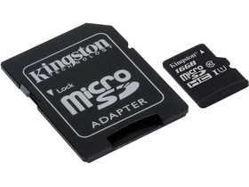 Kingston Secure Digital Micro 16GB SDHC Class10 memóriakártya  + SD adapter (SDC10G2/16GB)