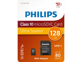 Philips 128GB microSDXC Speicherkarte + SD Adapter, Class 10, UHS-I, U1