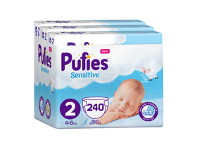 Pufies Sensitive 1 Monat Windel Paket, Gr. 2, 240 Stk, 4-8 kg
