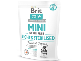 Brit Care Mini Light&Sterilized gabonamentes száraz kutyaeledel, nyúl/lazac, 400g