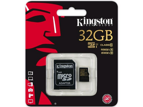 Kingston microSDHC kártya 32GB Class10 UHS-I + SD adapter