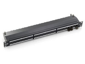 Equip 326624 Cat6A patch panel 24 port, 1U, črn