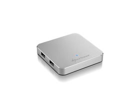 Sharkoon Slim aluminij 4 port USB3.0 Hub, srebrna (sa adapterom, 4044951017607)