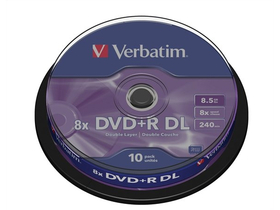 "DVD+R Disk Verbatim 8,5 GB, 8x,dual layer Disk ""Double Layer"", 10kom"