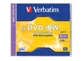 Verbatim DVD+RW 4,7 GB, 4x, rescripţionabil, toc normal