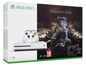 Xbox One S 1TB  конзола, бяла+ Shadow of War