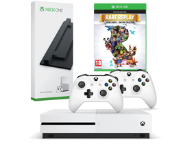 Consola Microsoft Xbox One S 1TB + 2 controllere + Rare Replay token + suport