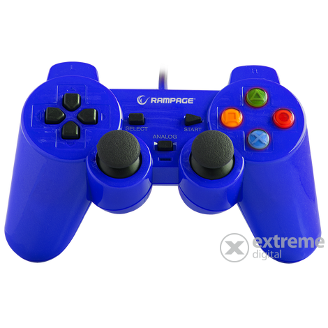 Rampage gamepad - SG-R602 Blue (USB, 1,8m kábel, PC ÉS PS3 kompatibilis, kék)