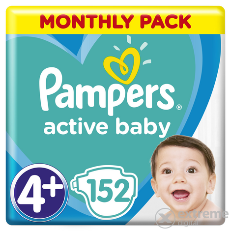 Scutece Pampers Active Baby Monthly Box, marime 4+, 152 bucati