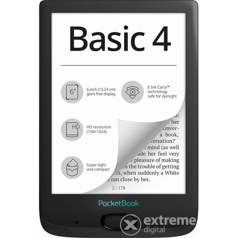 PocketBook Basic 4 ebook четец, черен