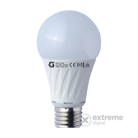 Global A60 6W E27 LED izzó (220-240V, 50/60Hz 3000K)
