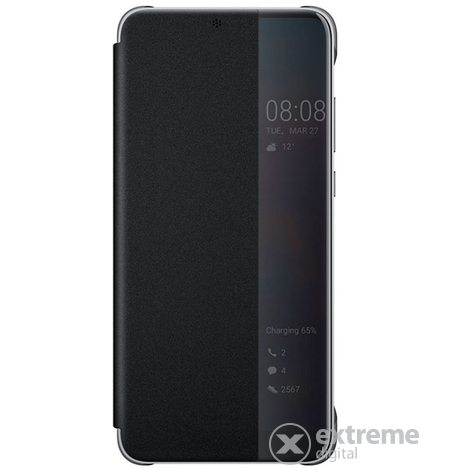 Huawei P20 s-view flip cover tok, fekete
