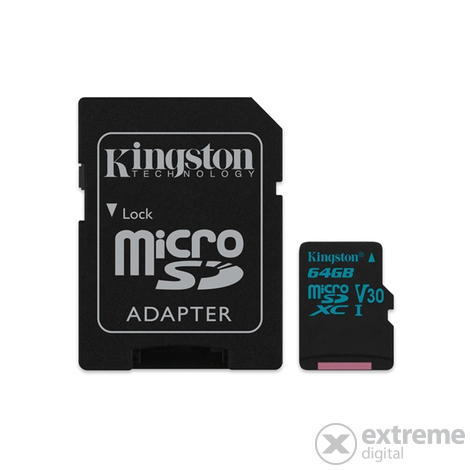 Kingston Canvas Go microSDXC 64GB U3 UHS-I V30 (90/45)  memóriakártya, adapterrel (SDCG2/64GB)