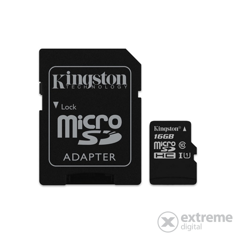 Card de memorie cu adaptor Kingston Canvas Select microSDHC 16GB Class 10 UHS-I (80/10)